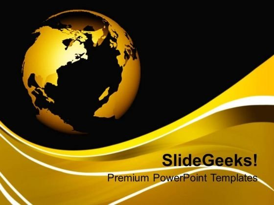 World Globe On Brown Background PowerPoint Templates Ppt Backgrounds For Slides 0213