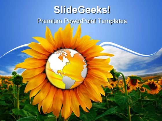 World In A Sunflower Beauty PowerPoint Themes And PowerPoint Slides 0511