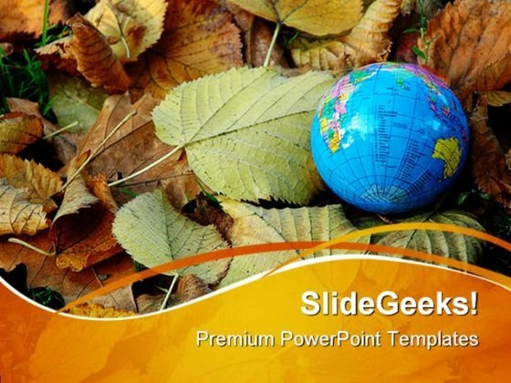 World In Autumn Globe PowerPoint Themes And PowerPoint Slides 0411
