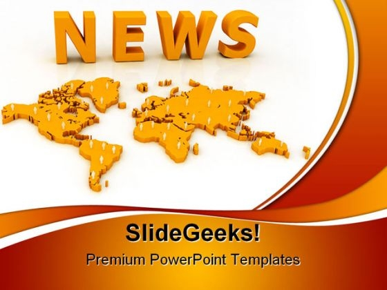 World Map With News Shapes PowerPoint Templates And PowerPoint Backgrounds 0411
