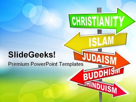 World Religions Signpost Metaphor PowerPoint Themes And PowerPoint Slides 0811