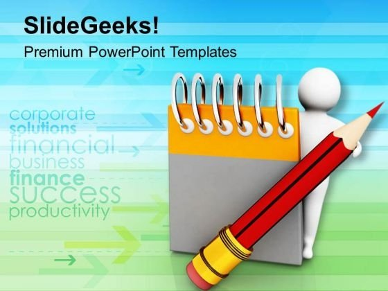 Write Notes For Memory PowerPoint Templates Ppt Backgrounds For Slides 0813