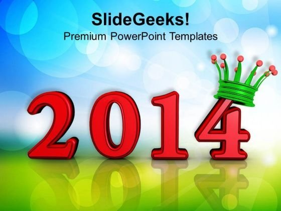 Year 2014 With Crown PowerPoint Template 1113