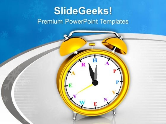 Yellow Alarm Clock Midnight New Year PowerPoint Templates Ppt Backgrounds For Slides 0113
