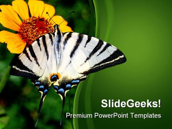 Yellow Flower And Butterfly Nature PowerPoint Themes And PowerPoint Slides 0211
