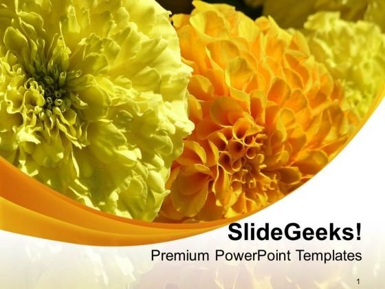Yellow Flower Background With Unique Design PowerPoint Templates Ppt Backgrounds For Slides 0713