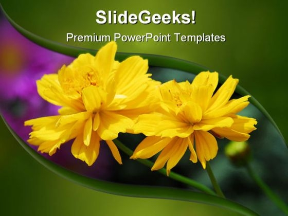 Yellow Flower Beauty PowerPoint Template 0810