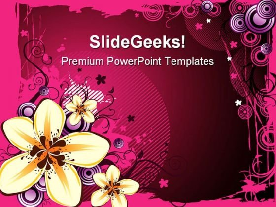 Yellow Flowers Abstract Design PowerPoint Themes And PowerPoint Slides 0611