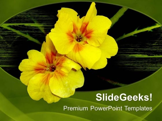 Yellow Flowers On Green Background PowerPoint Templates Ppt Backgrounds For Slides 0713