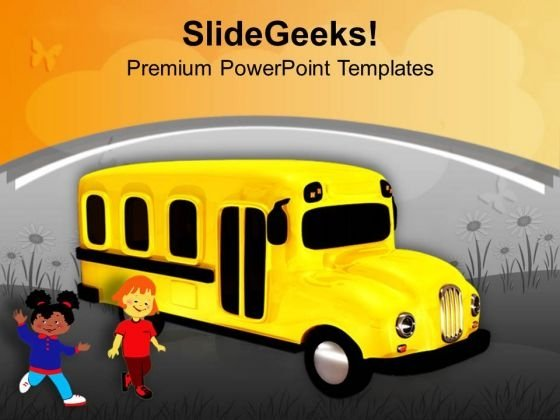 Yellow School Bus With Childrens Education PowerPoint Templates Ppt Backgrounds For Slides 0313