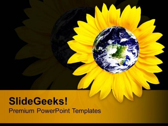 Yellow Sunflower With Globe Nature Environment PowerPoint Templates Ppt Backgrounds For Slides 1212