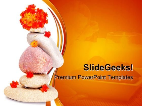Zen Stones And Flowers Beach PowerPoint Themes And PowerPoint Slides 0411