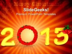 2013 Christmas Wreath Decoration PowerPoint Templates Ppt Backgrounds For Slides 1212