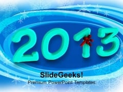 2013 In Light Blue With Red Bow PowerPoint Templates Ppt Backgrounds For Slides 1212