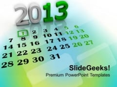 2013 New Year Calendar Events PowerPoint Templates Ppt Backgrounds For Slides 1112