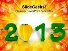 2013 New Year Concept With Capsicum Food PowerPoint Templates Ppt Backgrounds For Slides 1212