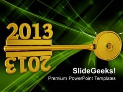 2013 On Golden Key New Year Business Concept PowerPoint Templates Ppt Backgrounds For Slides 1112