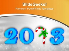 2013 Text In Blue With Candy Cane PowerPoint Templates Ppt Backgrounds For Slides 0113