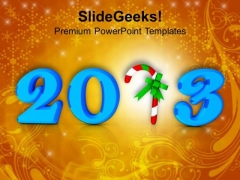 2013 Text In Blue With Candy Cane PowerPoint Templates Ppt Backgrounds For Slides 1212