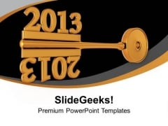 2013 With Golden Key Mirror Image PowerPoint Templates Ppt Backgrounds For Slides 0113
