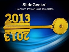 2013 With Golden Key New Year Concept Business PowerPoint Templates And PowerPoint Themes 1112