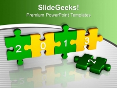 2013 With Green Yellow Puzzle Pieces PowerPoint Templates Ppt Backgrounds For Slides 1212