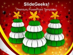 3 Pine Trees Green And White Christmas PowerPoint Templates Ppt Backgrounds For Slides 1212