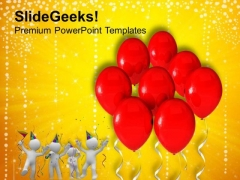 3d Birthday Party Balloons PowerPoint Templates Ppt Backgrounds For Slides 0413