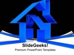 3d Blue House Illustration Real Estate PowerPoint Templates Ppt Backgrounds For Slides 0113