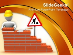 3d Builder Putting Bricks On Wall PowerPoint Templates Ppt Backgrounds For Slides 0713