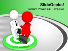 3d Business Men Shaking Hands On Target PowerPoint Templates Ppt Backgrounds For Slides 0613