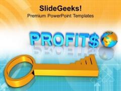 3d Business Profits Global Success Key PowerPoint Templates Ppt Backgrounds For Slides 0213