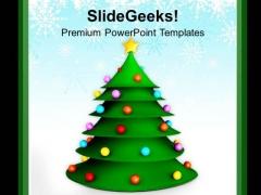 3d Christmas Tree Festival Celebration PowerPoint Templates Ppt Backgrounds For Slides 0113