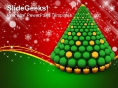 3d Christmas Tree Made Of Spheres PowerPoint Templates And PowerPoint Themes 1012