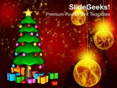 3d Christmas Tree With Gifts And New Year Coming PowerPoint Templates And PowerPoint Themes 1012