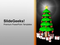 3d Christmas Tree With Gifts New Year PowerPoint Templates Ppt Backgrounds For Slides 1212