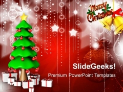 3d Christmas Tree With Gifts PowerPoint Templates And PowerPoint Themes 1012