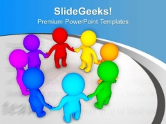 3d Colorful Team In A Circle PowerPoint Templates Ppt Backgrounds For Slides 0613