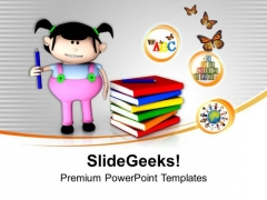 3d Girl Graphic With Books Education Theme PowerPoint Templates Ppt Backgrounds For Slides 0413