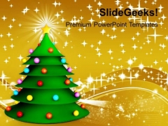3d Green Christmas Tree Festival PowerPoint Templates Ppt Backgrounds For Slides 1212