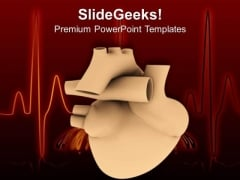 3d Heart With Ecg Health Theme PowerPoint Templates Ppt Backgrounds For Slides 0413