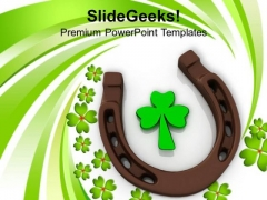 3d Horse Shoes And Clover Leaf Celebration PowerPoint Templates Ppt Backgrounds For Slides 0313