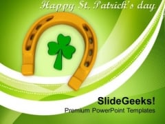 3d Horse Shoes And Clover Leaf Lucky Symbol PowerPoint Templates Ppt Backgrounds For Slides 0313