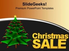 3d Illustration Of Christmas Tree And Sale PowerPoint Templates Ppt Backgrounds For Slides 1112