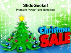 3d Illustration Of Christmas Tree With Sales PowerPoint Templates Ppt Backgrounds For Slides 1112