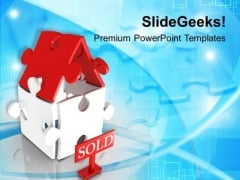 3d Illustration Of Sold House PowerPoint Templates Ppt Backgrounds For Slides 0213