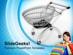 3d Image Of Lady With Shoping Cart PowerPoint Templates Ppt Backgrounds For Slides 0713