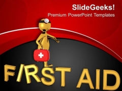3d Image Of Man With First Aid Kit PowerPoint Templates Ppt Backgrounds For Slides 0713
