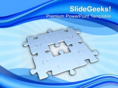 3d Jigsaw Puzzle On Blue Background PowerPoint Templates Ppt Backgrounds For Slides 0313