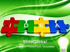 3d Jigsaw Puzzle Pieces With Idea PowerPoint Templates And PowerPoint Themes 1012